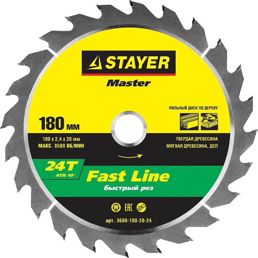 Диск пильный по дереву STAYER Ø 180 x 20 мм, 24T (3680-180-20-24)