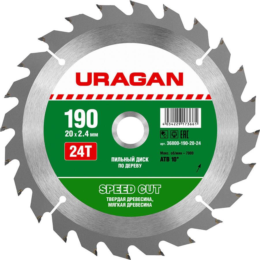 Диск пильный по дереву URAGAN Ø 190 x 20 мм, 24T (36800-190-20-24)