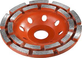 Чашка шлифовальная по бетону ЗУБР 125 мм, L- 22.2 мм, алмазная, сегментная, двухрядная (33376-125)