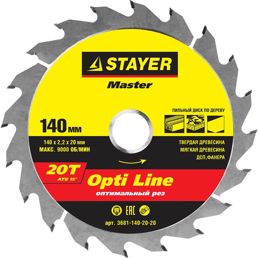 Диск пильный по дереву STAYER Ø 140 x 20 мм, 20T (3681-140-20-20)