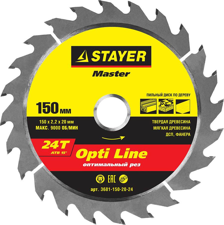 Диск пильный по дереву STAYER Ø 150 x 20 мм, 24T (3681-150-20-24)