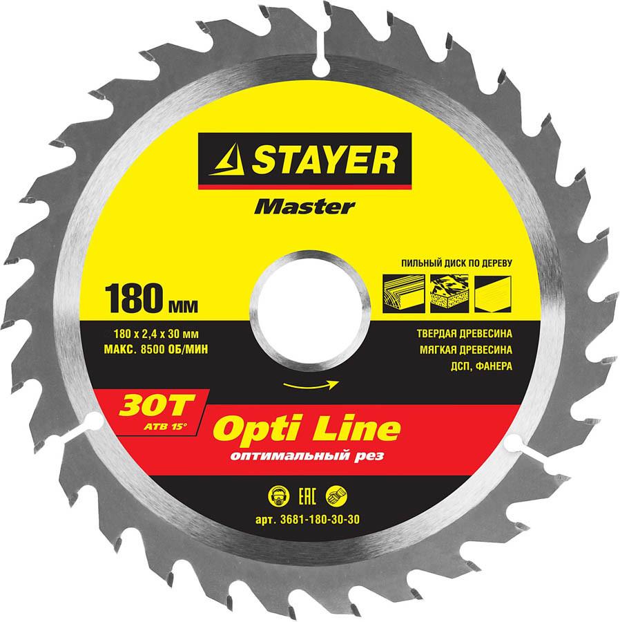 Диск пильный по дереву STAYER Ø 180 x 30 мм, 30T (3681-180-30-30)