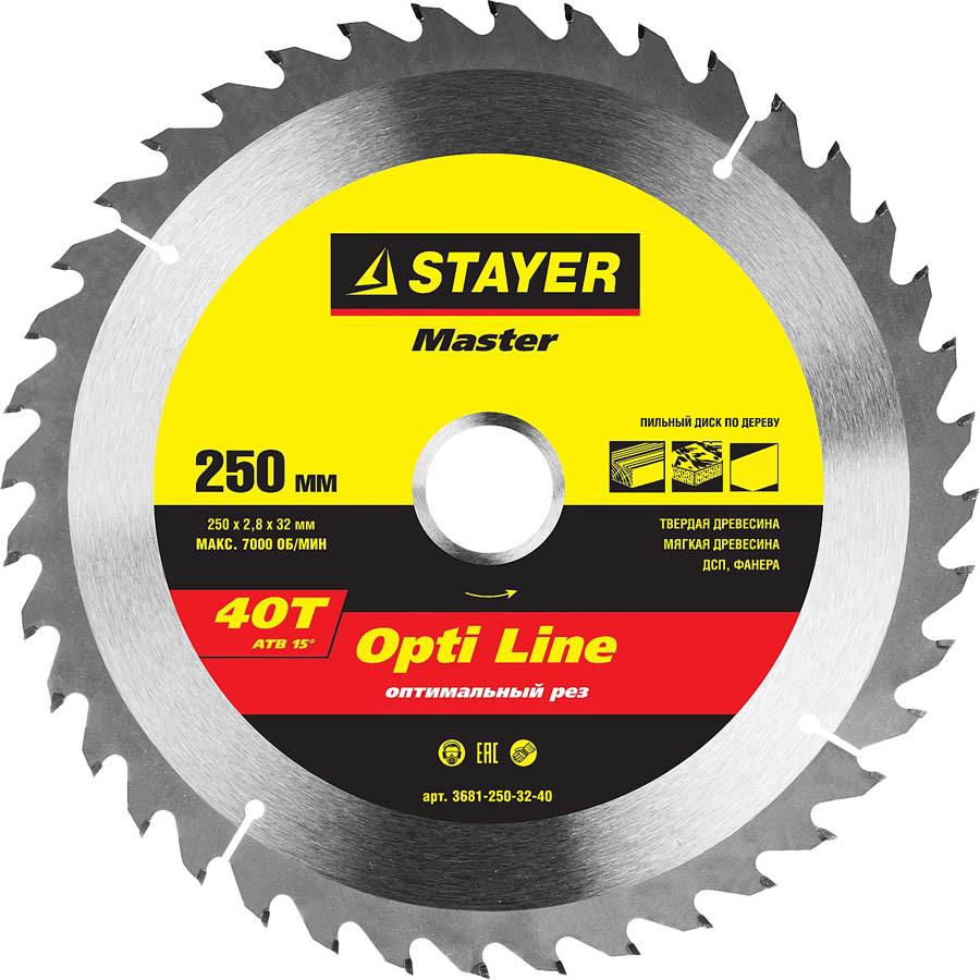 Диск пильный по дереву STAYER Ø 250 x 32 мм, 40T (3681-250-32-40)