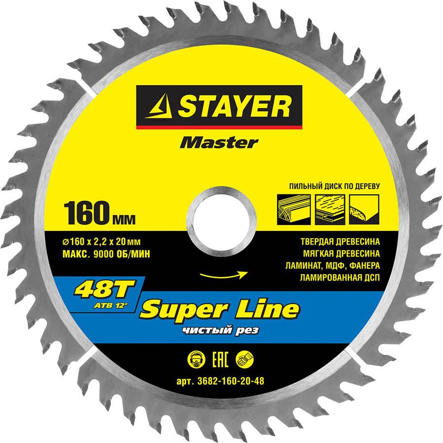 Диск пильный по дереву STAYER Ø 160 x 20 мм, 48T (3682-160-20-48)