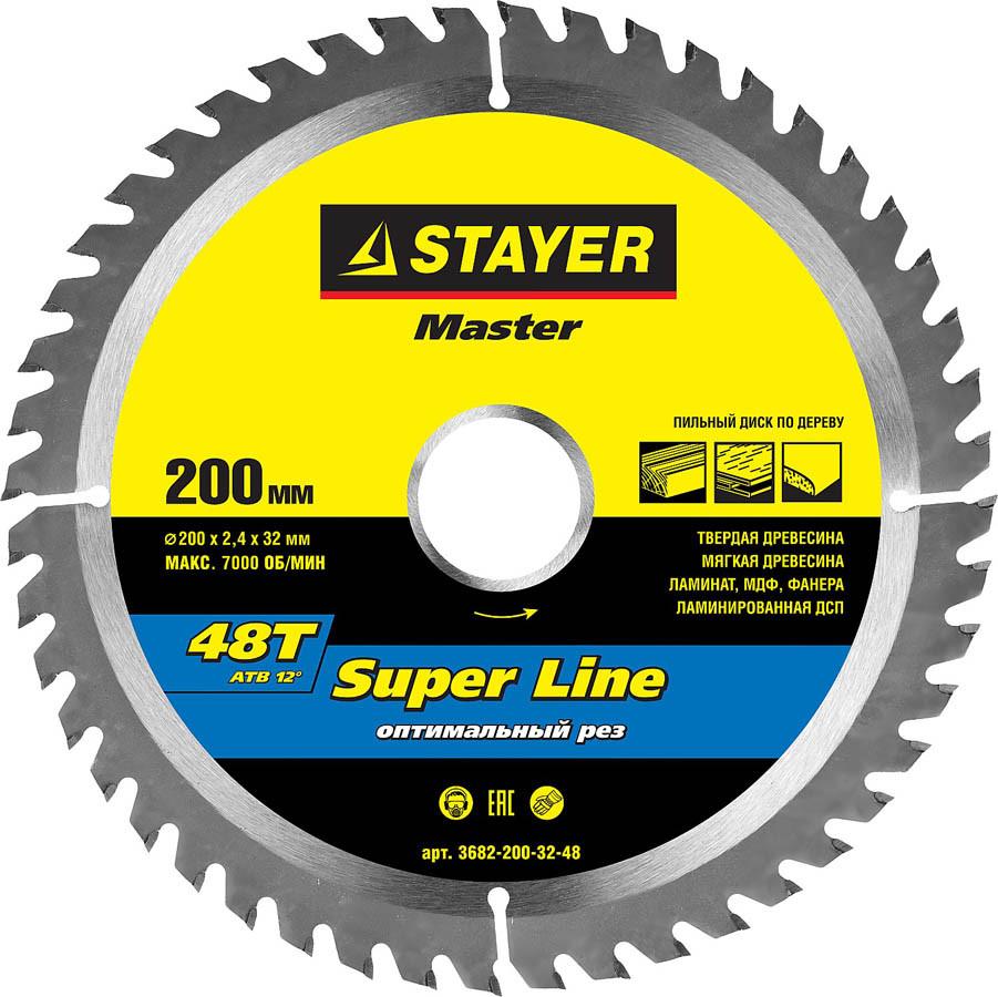 Диск пильный по дереву STAYER Ø 200 x 32 мм, 48T (3682-200-32-48)