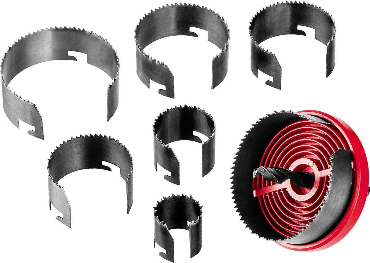 Пила кольцевая наборная по дереву ЗУБР 26-32-38-45-50-56-63 мм, 7шт. (29593-H7-18)