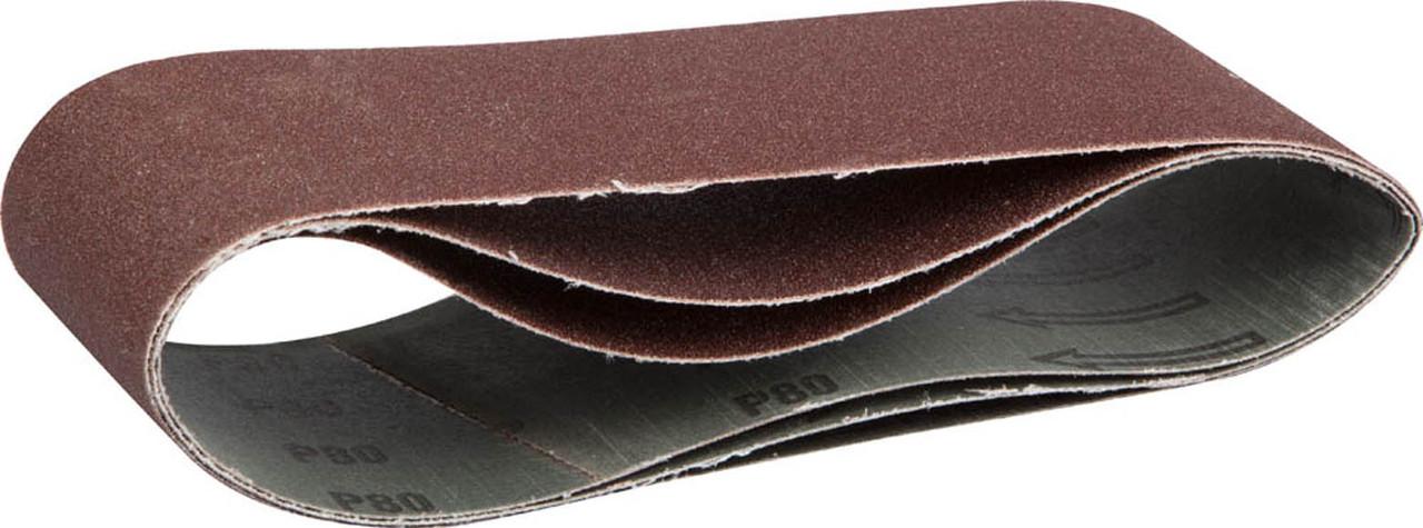 Лента шлифовальная ЗУБР P80, 75х533 мм, 3 шт., универс. бесконечная на тканевой основе для ЛШМ (35542-080)