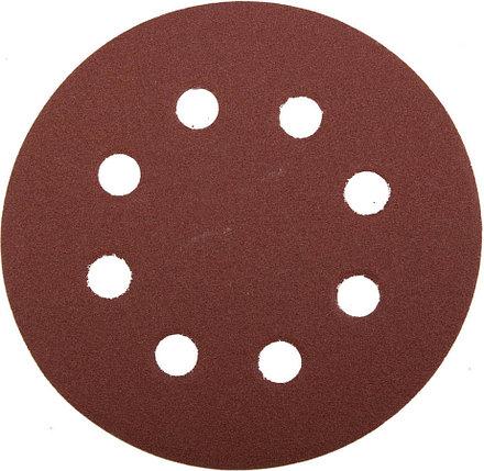 Круг шлифовальный ЗУБР 8 отв., Р120, 115 мм, 5шт, из абразивной бумаги на велкро основе,  (35560-115-120), фото 2