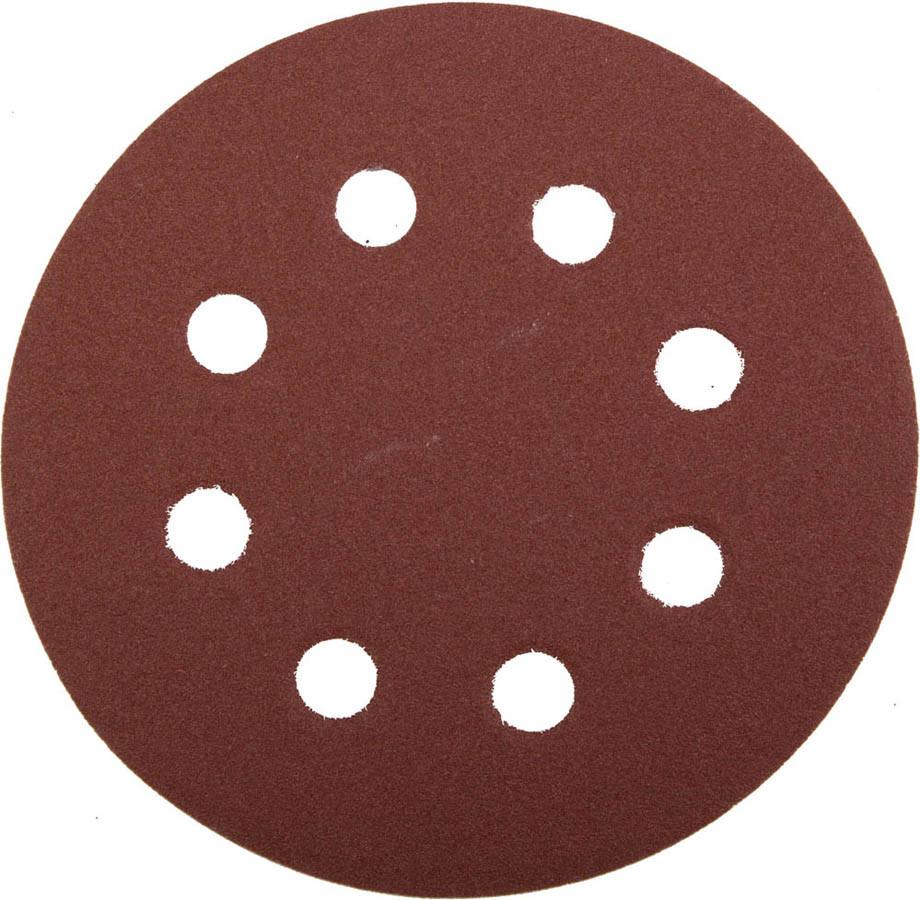 Круг шлифовальный ЗУБР 8 отв., Р180, 115 мм, 5шт, из абразивной бумаги на велкро основе,  (35560-115-180)