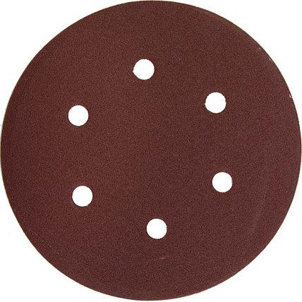 Круг шлифовальный ЗУБР 6 отв., Р120, 150 мм, 5 шт.,  из абразивной бумаги на велкро основе, (35566-150-120), фото 2