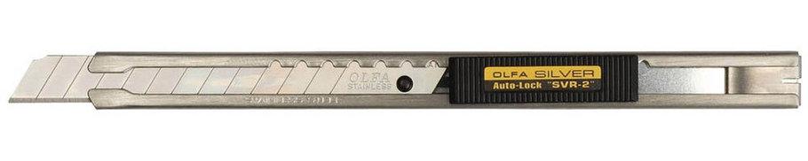 Нож с выдвижным лезвием и корпусом из нержавеющей стали OLFA 9 мм (OL-SVR-2), фото 2