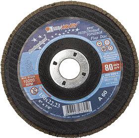 Круг лепестковый торцевой абразивный для шлифования ЛУГА 150 х 22.23 мм,P60 для УШМ (3656-150-25)