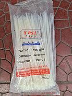 Хомут-стяжки пластиковые, 4х250 мм, белые, упаковка 250 шт.