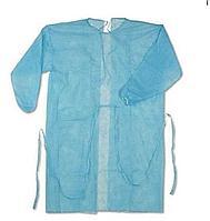 Халат хирургически медицинский не стерильный из не тканного материала пл25-55 цвета голубой,белый
