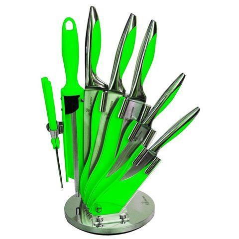Набор стальных ножей с литыми рукоятями на подставке HATCHEN {8 предметов} (Салатовый)