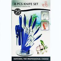 Набор стальных ножей с литыми рукоятями на подставке HATCHEN {8 предметов} (Салатовый), фото 2
