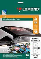 Бумага Самоклеящаяся для CD A4 25л CD2(D-17/118мм) матовая (струйн.печать) Lomond L2211013
