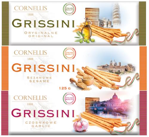 Хлебные палочки Grissini 125 гр (Чесночные,классические, с кунжутом)