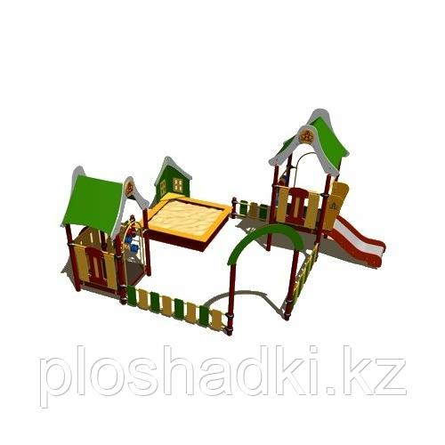 Песочный дворик Romana, с игровыми башнями, горкой, счётами, песочницей
