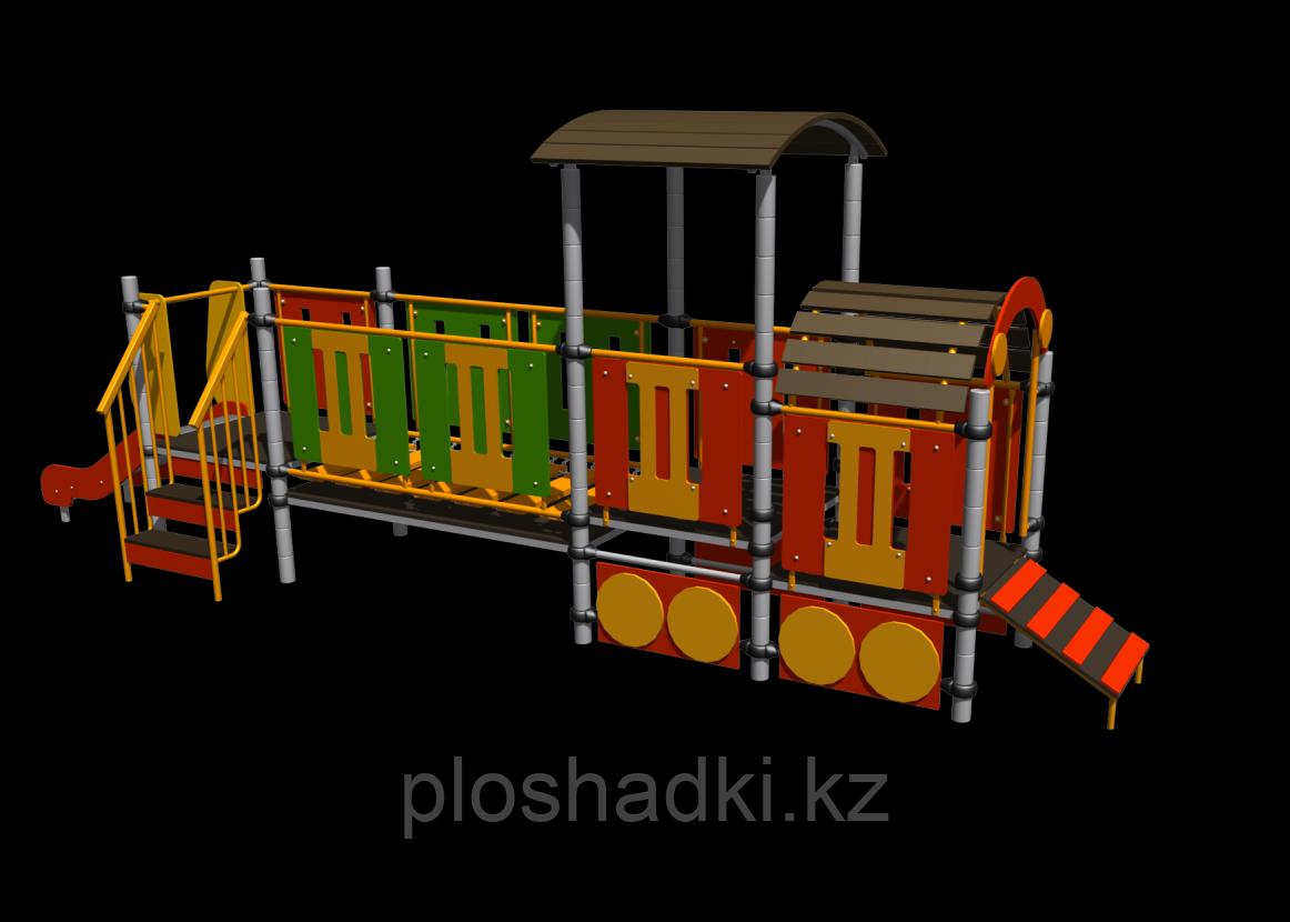 """""""Паровозик с вагоном"""", детский, развивающий, с горкой, лестницами, аркой"""