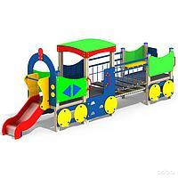 Паровоз детский, игровой, с горкой, крышей, сидениями