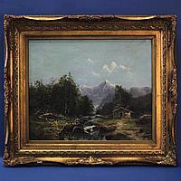 «Пейзаж с рекой» Автор Emile Godchaux (1860-1938)