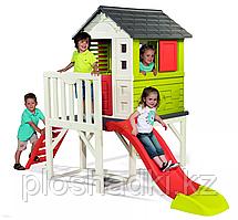 Домик игрушечный на сваях, с лестницей, горкой, верандой, с дверью, ставнями на окнах
