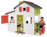 Домик для детей игрушечный, пластик, с дверью и звонком, со скамейкой и столиком