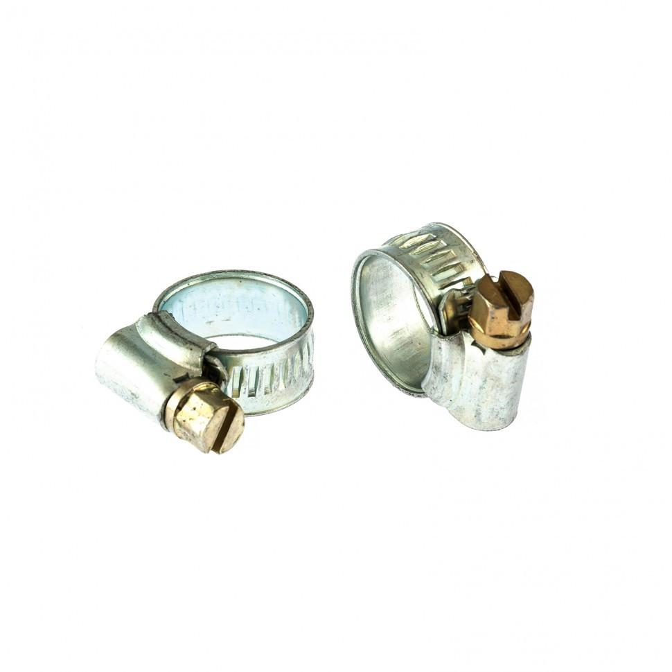 Хомуты металлические, червячные 10-16 мм, ширина 10 мм, английский тип, W1, 2 шт Сибртех