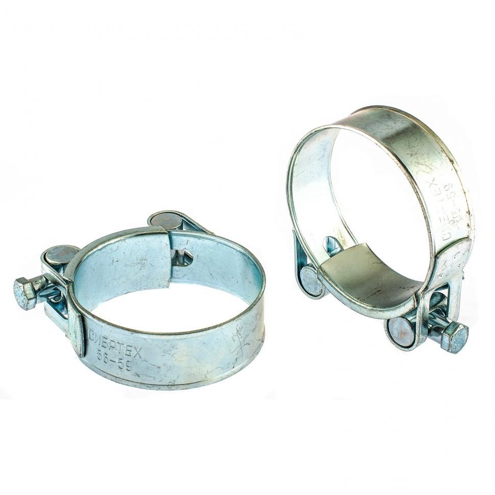 Хомуты металлические, силовые 56-59 мм, ширина 22 мм, шарнирный, W1, 2 шт Сибртех