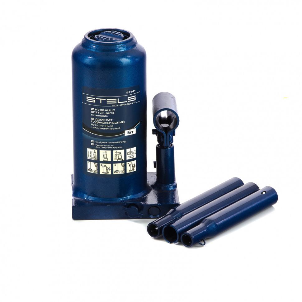 Домкрат гидравлический бутылочный телескопический, 6 т, h подъема 190-480 мм Stels