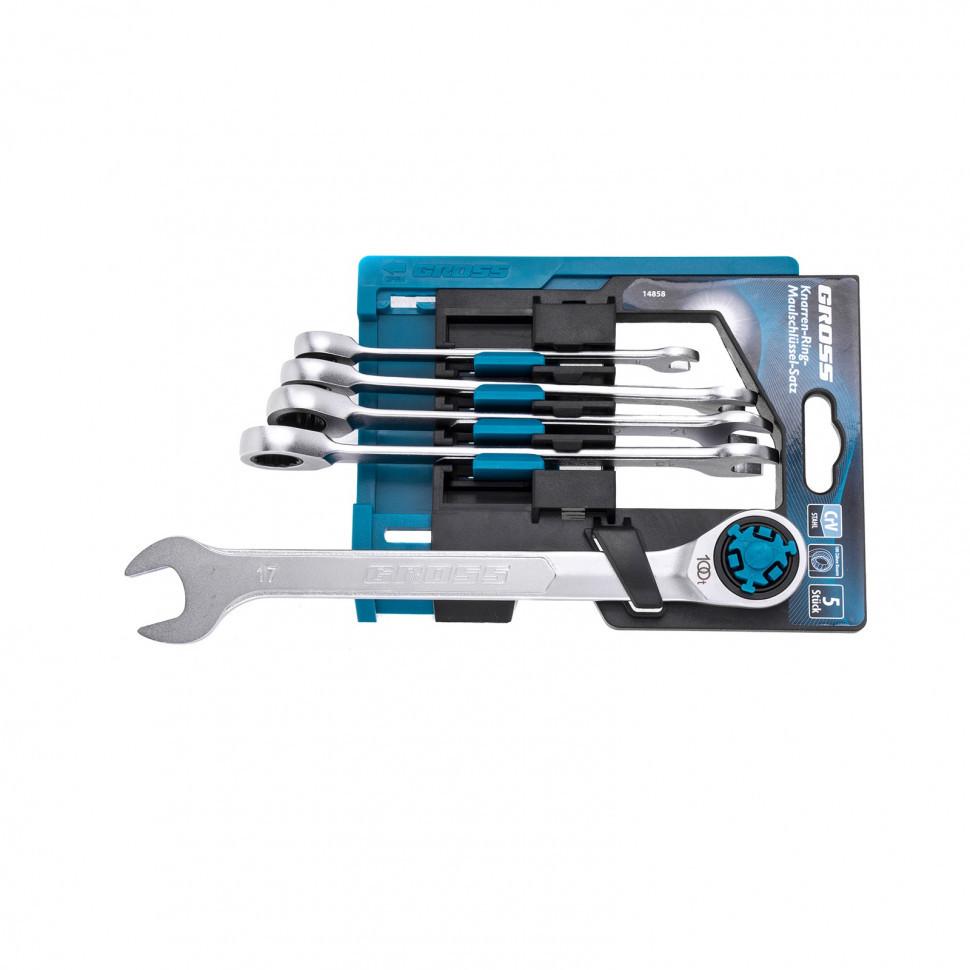 Набор ключей комбинированных трещоточных, количество зубьев 100, СRV, 5 шт, 8- 17 мм Gross