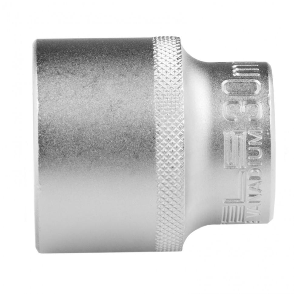 Головка торцевая, 30 мм, двенадцатигранная, CrV, под квадрат 1/2, хромированная Stels
