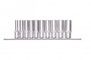 Набор удлиненных торцевых головок 3/8, шестигранные, CrV, 10 шт., 8-19 мм Stels