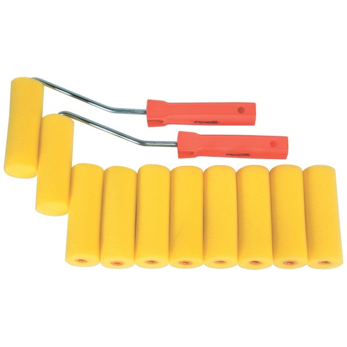 "Набор мини-валиков ""Поролон"", 100 мм, D 35 мм, D ручки 6 мм, 10 шт, 2 бюгеля Sparta"