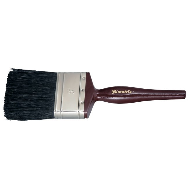 """Кисть плоская """"Декор"""" 1"""" (25 мм), натуральная черная щетина, деревянная ручка MTX"""