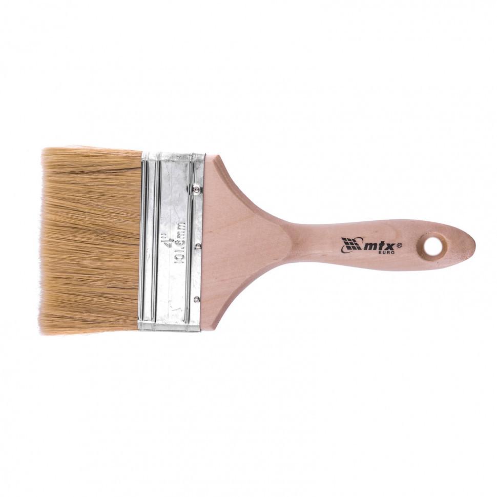 """Кисть плоская """"Евро"""" 4"""", натуральная щетина, деревянная ручка MTX"""