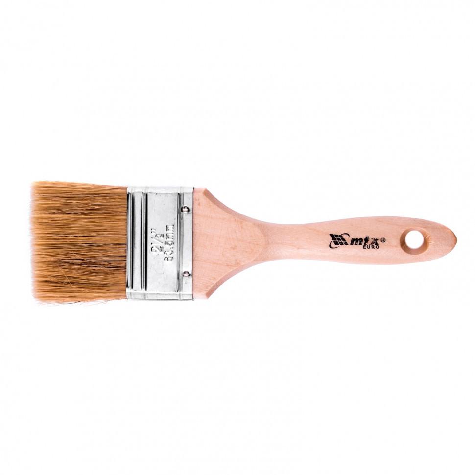 """Кисть плоская """"Евро"""" 2,5"""", натуральная щетина, деревянная ручка MTX"""