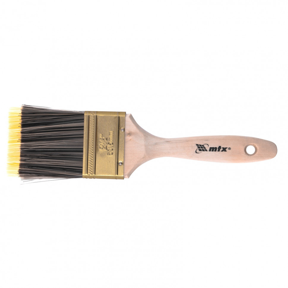 """Кисть плоская Golden 2.5"""", искусственная щетина, деревянная ручка Mtx"""