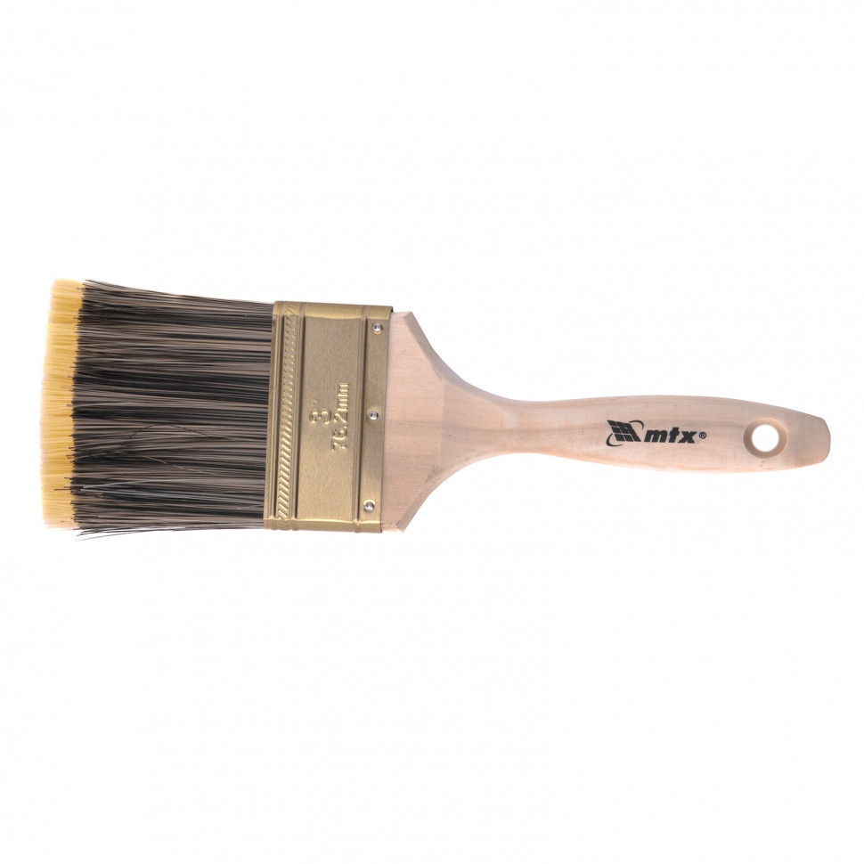 """Кисть плоская Golden 3"""", искусственная щетина, деревянная ручка MTX"""