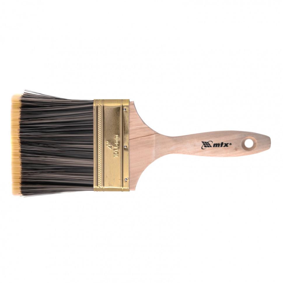 """Кисть плоская Golden 4"""", искусственная щетина, деревянная ручка MTX"""