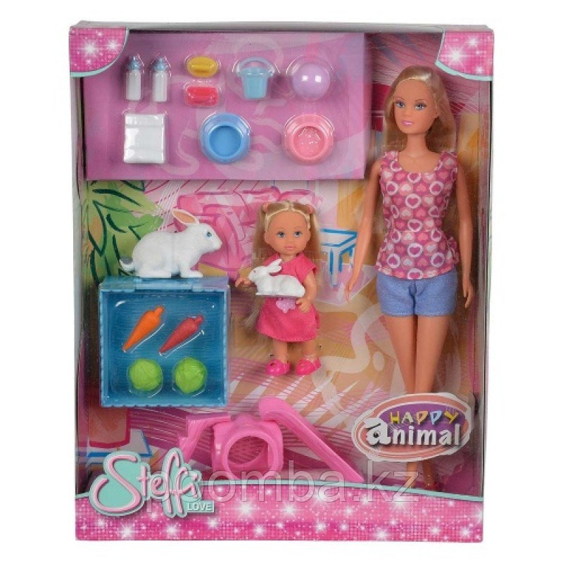 Кукла Штеффи и Кукла Еви с кроликами 29 см