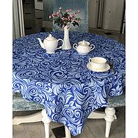 """Скатерть """"Завиток"""" 145х180 см, голубой/синий"""