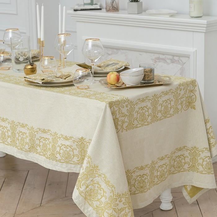 """Столовый набор """"Этель"""" (скатерть 150х200 см, салфетки 45х45 см - 6 шт.) цвет золотой, хл. с ВМГО"""