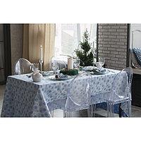 """Столовый набор """"Этель"""" Снежинки синие скатерть 150х280 см, салф. 40х40 см - 12 шт, хл.100%, ВМГО"""