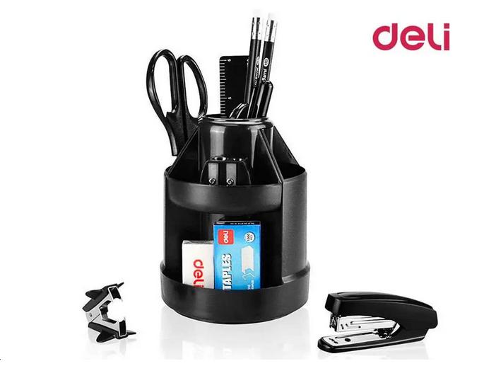 """Настольный набор DELI """"E38250A"""", 15 предметов, черный"""