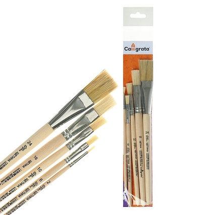 Набор кистей Щетина 5 штук, Calligrata (плоские №: 2, 6, 10, 16, 24), деревянная ручка, пакет