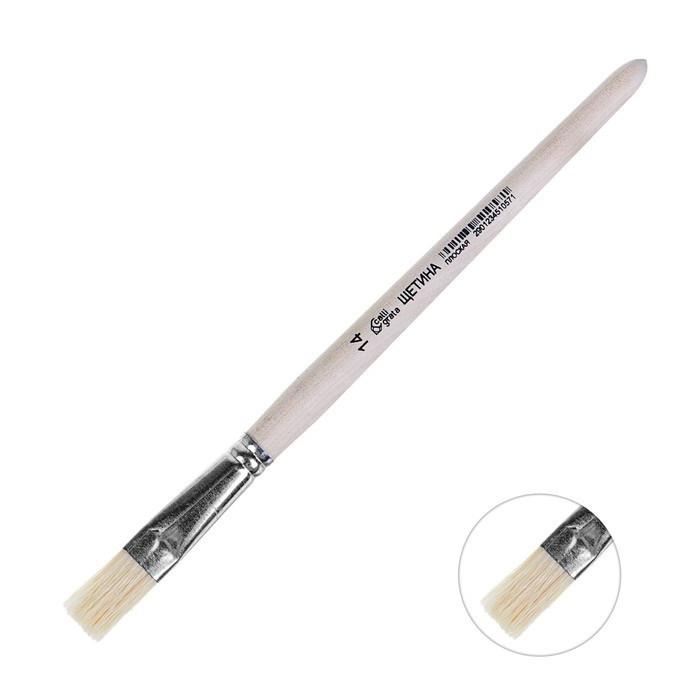 Кисть Щетина плоская №14 (ширина обоймы 14 мм; длина волоса 22 мм) ручка дерево, Calligrata