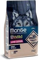 2102 Monge Bwild Dog, Монже корм для взрослых собак всех пород с мясом гуся, низкозерновой уп.2,5кг.