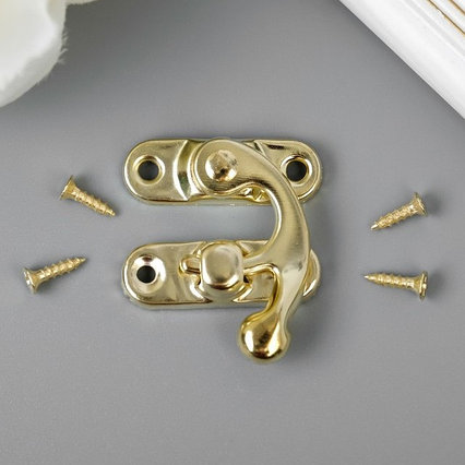 "Замок металл для шкатулки ""Крючок"" золото набор 4 шт 2,7х2,5 см"